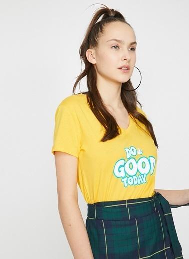 Koton Koton Baskılı T-Shirt Sarı